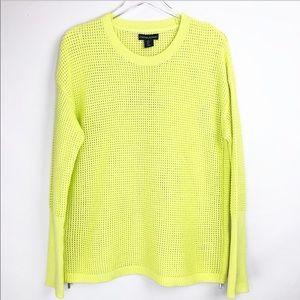 Cynthia Rowley Knit zip up neon yellow sweater L